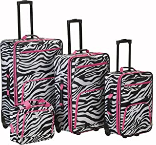 Rockland Fashion Softside Upright Luggage Set, Pink Zebra, 4-Piece (14/20/24/28)