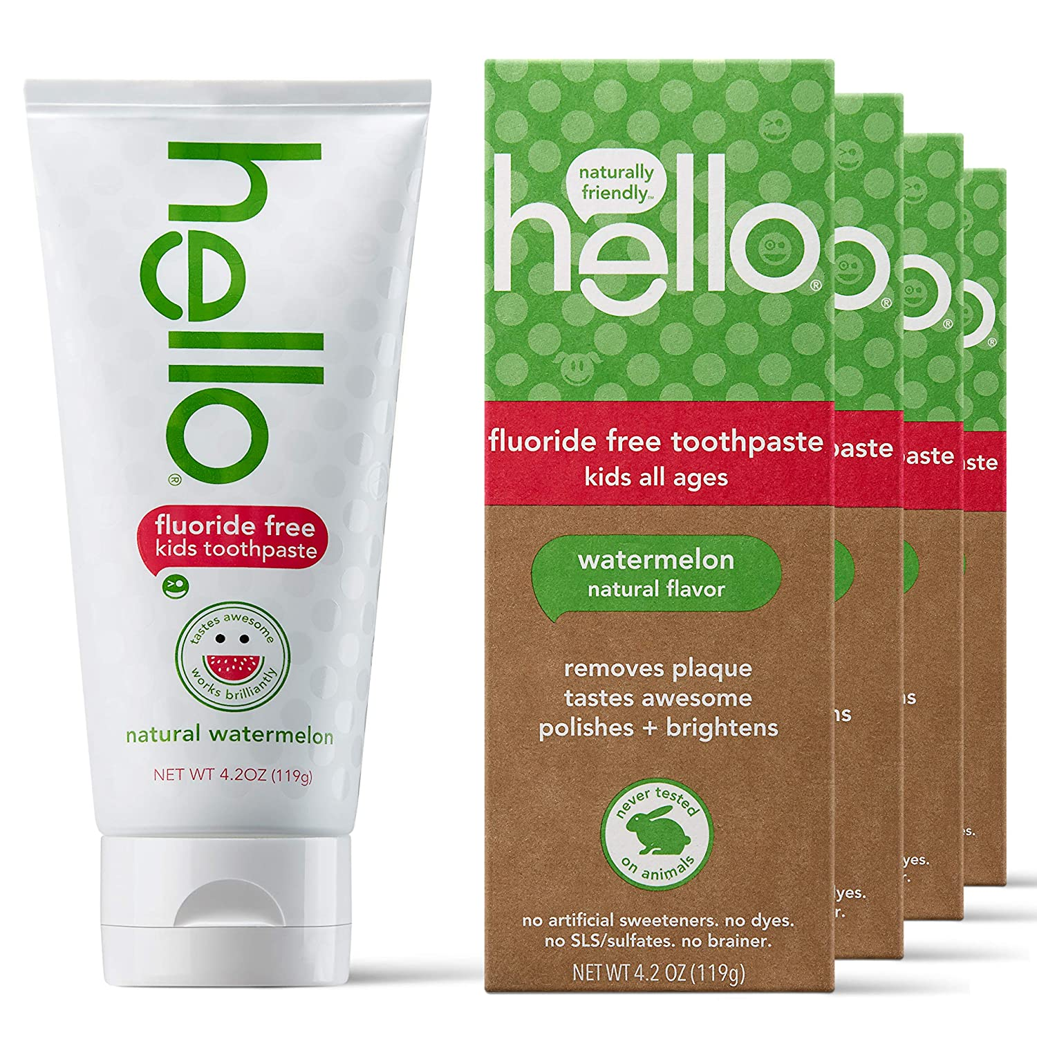 Hello Oral Care New mail order Max 69% OFF Kids Fluoride Free Months+ for Glu 3 Toothpaste