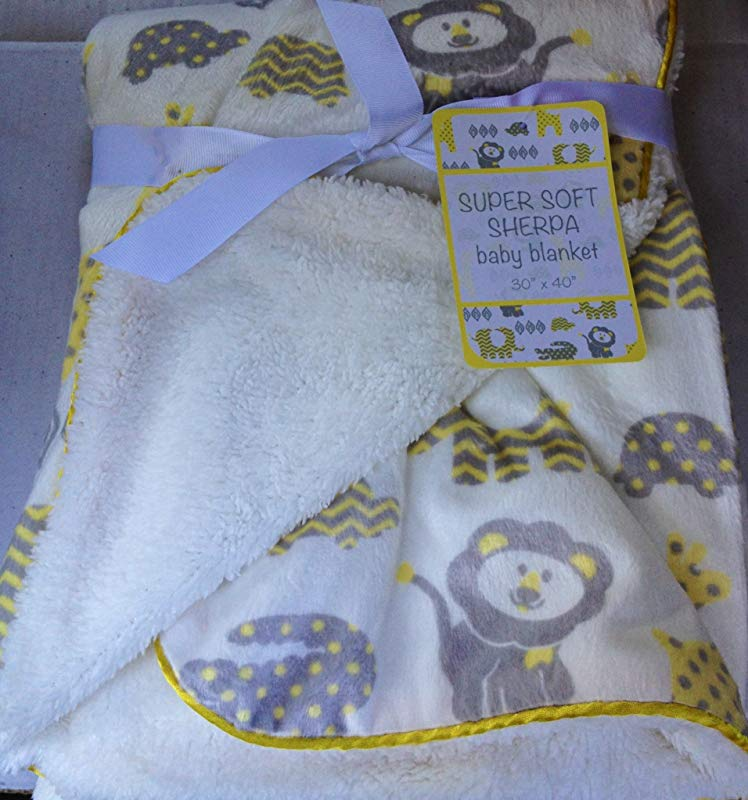 Super Soft Sherpa Baby Blanket 30 X 40 Reversible White Sweet Zoo Unisex