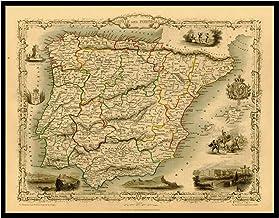Mapa de reproducción vintage de la biblioteca de mapas antiguos de ESPAÑA y PORTUGAL 1851. Parte trasera de lino, mapa plegado., 60x79