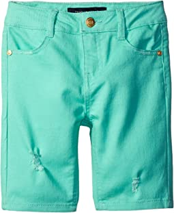 Bermuda Length Distressed Denim Shorts in Cabbage (Little Kids)