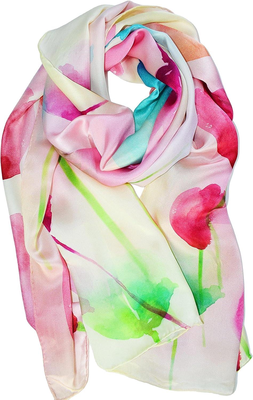 ELEGNA Women's 100% Silk Flower Painting Long Scarf Shawl Hand Rolled Edge