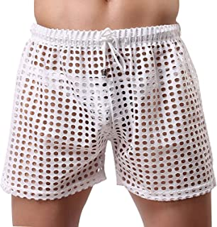 US Mens Hollow Openwork Drawstring Lounge Underwear Boxer Shorts