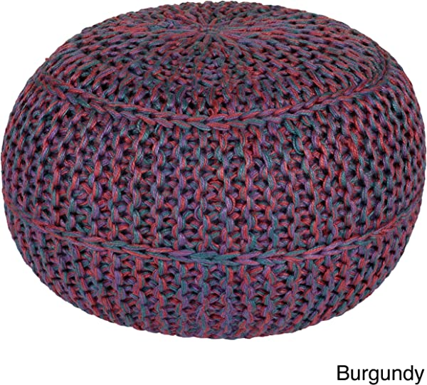 MISC Jute Ottoman Colorful Purple Red Blue Woven Knit Large Round Pouf Bohemian Theme Circle Footstool For Sitting Area Cottage Cabin Living Room Durable Footrest Stool 20 Tall Circular Shape