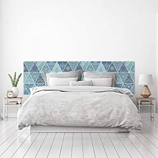 MEGADECOR Cabecero Cama PVC Decorativo Económico Diseño Rombos Estampados Azul Celeste Varias Medidas (150 cm x 60 cm)