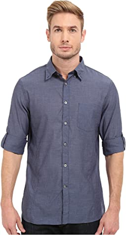 Roll Up Sleeve Shirt w/ Button Down Collar Single Pocket