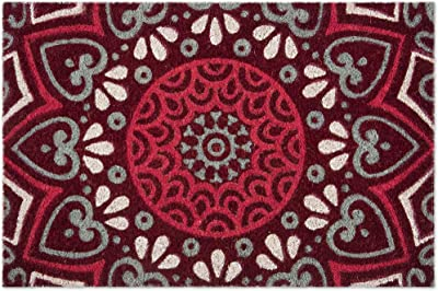 Excelsa Mandala Red Entrance Doormat Coconut Fibre 40 x 60 cm