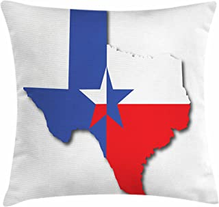 Ambesonne Texas Star Throw Pillow Cushion Cover, Outline of The Texas Map American Southwest Austin Houston City, Decorative Square Accent Pillow Case, 28