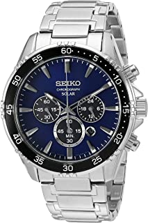 Seiko Men's Solar Chronograph Silvertone Watch with Blue Dial