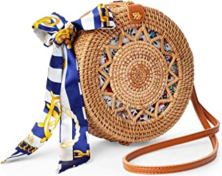 BB BROTHER BROTHER Handmade Crossbody Rattan Bag with Rattan Earrings and Scarf, Round Wicker Shoulder Straw Purse with Vegan Leather Straps, Handwoven Fashion Accessories, Best Gift Idea for Women