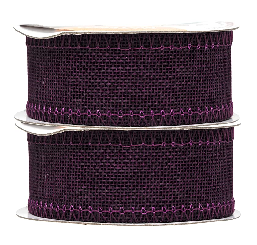 Mandala Crafts Burlap Ribbon, Jute Fabric Strip Spool for Rustic Ornament, Wreath Making, Holiday Decorating, Gift Wrapping (Purple, 1.5 Inches)