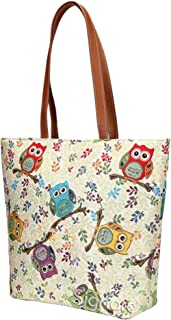 Signare Owl Tote Bags Purses for Women/Shoulder Bag for Women/Beach Bag for Women Tapestry/SHOU-OWL, Large