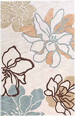 Linon Trio Space Dyed Beige Turquoise Natural Fiber Rugs, 1.10 x 2.10, Brown