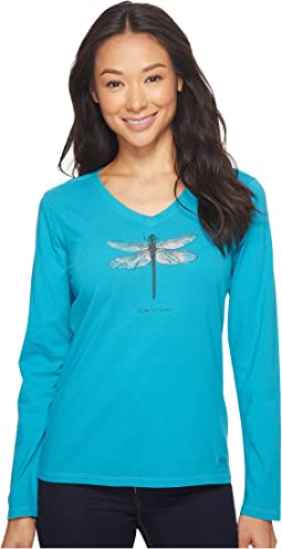Life is Good - Dragonfly Long Sleeve Crusher Vee