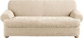 SureFit Stretch Jacquard Damask 2-Piece - Sofa Slipcover - Oyster