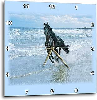 3dRose Black Horse Racing on Ocean Beach - Wall Clock, 15 by 15-Inch (DPP_38919_3)
