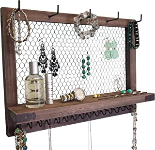 Large Rustic Farmhouse Vintage Wall Mounted Hanging Jewelry Organizer, Perfect Holder for Earrings Necklaces Bracelets-Gold Chicken Wire, Present for Women, Wife, Mom, Girlfriend Chocolate