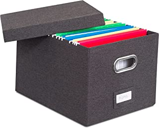 Internet's Best Collapsible File Storage Organizer | Decorative Linen Filing & Storage Office Box | Letter/Legal | Charcoal | 1 Pack