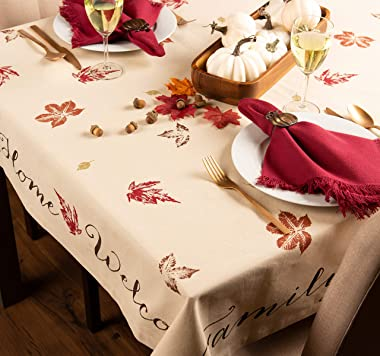DII 100% Cotton, Machine Washable, Printed Kitchen Tablecloth For Dinner Parties, Fall, Holidays & Thanksgiving - 60x84&#