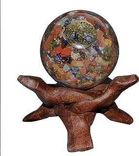 Crocon Mix Chakra Orgone Sphere Ball with Tree of Life Symbol for Crystal Energy Generator Reiki Healing Chakra Balancing Aura Cleansing EMF Protection Spiritual Meditation Decor Size: 60 mm
