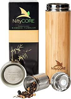 Bamboo Tumbler with Tea Infuser Bottle Loose Leaf Strainer – Advanced Double Insulated Stainless Steel Travel Thermos - Best Gift for Tea Lovers - Leak-Proof Hot Coffee Mug, Fruit Water Bottle (17 oz)