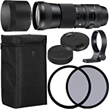 Sigma150-600mm f/5-6.3 DG OS HSM Contemporary Lens for Canon EF with 95mm UV and 95mm Polarizing Filer + Case + Collar C-PL AOM Starter Kit - International Version