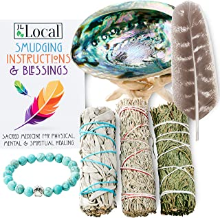 3 Sage Smudging Kit - White Sage, Blue Sage & Cedar   Smudge Kit with Abalone Shell, Stand, Instructions, B...
