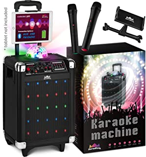 Karaoke Machine for Kids & Adults – 2020 NEW Wireless Microphone Speaker with Disco Ball, 2 Wireless Bluetooth Microphones & FREE Phone/Tablet Holder –Karaoke Bluetooth Toys for Kids G100 by KaraoKing