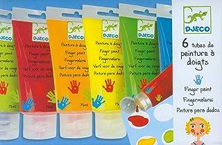 Djeco DJ08860 Tubes de Peinture au Doigt 6 Couleurs Multicolore