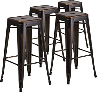 Flash Furniture 4 Pk. 30 High Backless Distressed Copper Metal Indoor-Outdoor