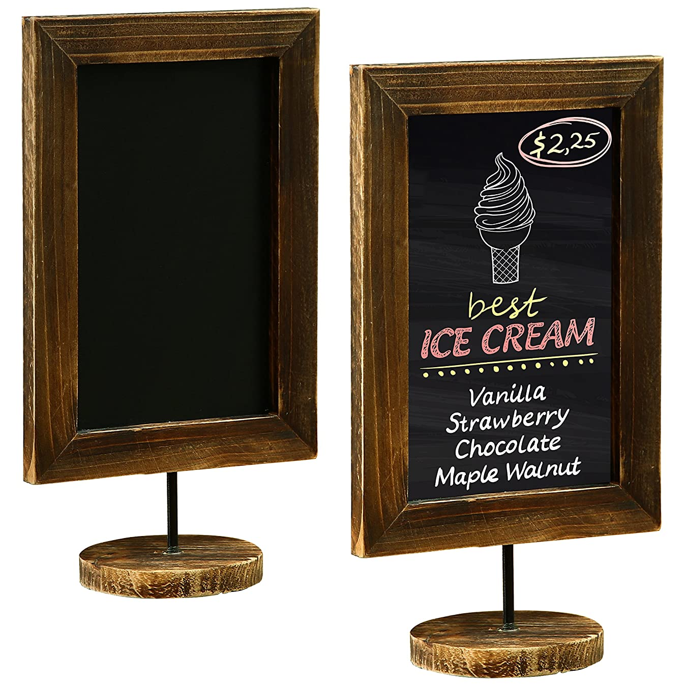 MyGift 12-Inch Burnt Wood Framed Memo Chalkboard, Tabletop Cafe Menu & Message Board Sign, Set of 2