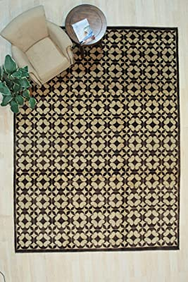 EORC Area, 9' x 12', Handmade, Wool, Transitional Rugs,GeometricRugs, Black