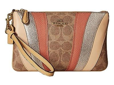 COACH Coated Canvas Signature Wave Patchwork Small Wristlet (Tan Multi/Brass) Handbags