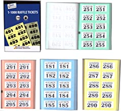 Tallon 4 x Books of Cloakroom and Raffle Tickets - 1 -1000 Tombola Draw Numbered Charity Events Prize Draw Lucky Draw