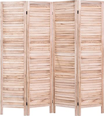 Amazon Com Rose Home Fashion Rhf 4 Panel 5 6 Ft Tall Wood Room Divider Wood Folding Room Divider Screens Panel Divider Room Dividers Room Dividers And Folding Privacy Screens 4 Panel Natural Furniture Decor