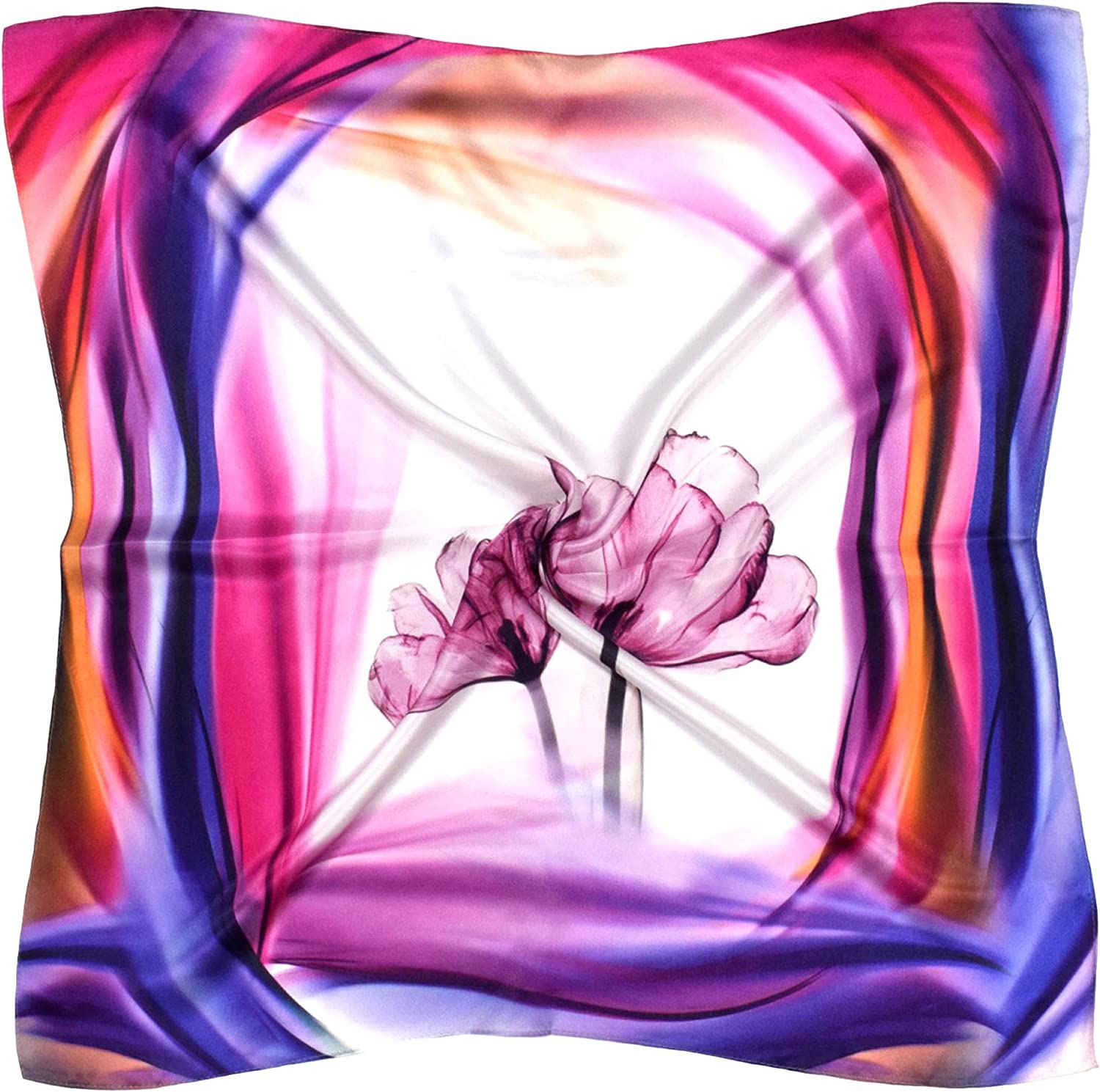 Purple Red Flower Printed Thick Silk Square Scarf