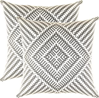 TreeWool Decorative Square Throw Pillowcases Set Kaleidoscope Accent 100% Cotton Cushion Cases Pillow Covers (16 x 16 Inches / 40 x 40 cm; Graphite Grey & White) - Pack of 2