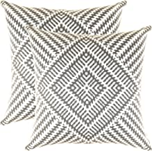 TreeWool Decorative Square Throw Pillowcases Set Kaleidoscope Accent 100% Cotton Cushion Cases Pillow Covers (20 x 20 Inches / 50 x 50 cm; Graphite Grey & White) - Pack of 2