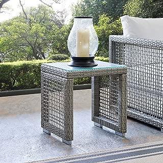 Modway EEI-2922-GRY Aura Outdoor Patio Wicker Rattan Side Table, Gray