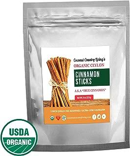 Organic True Ceylon Cinnamon Sticks 8 oz Fairtrade, Freshly Harvested & Packed in Sri Lanka w/E-BOOK Recipes & Crafts