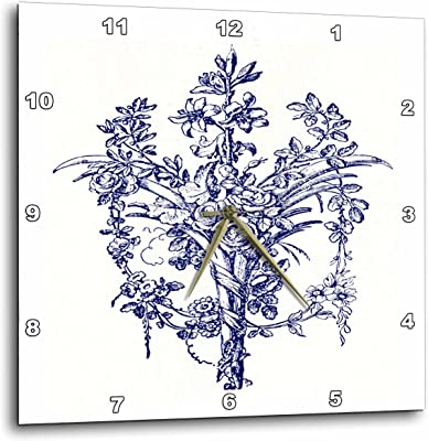 3dRose dpp_52352_1 French Vintage Floral Wall Clock, 10 by 10-Inch
