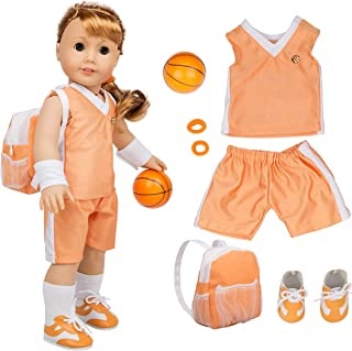 """Dress Along Dolly Basketball Uniform Outfit for American Girl & 18"""" Dolls (8 Piece Set) - Includes Doll Clothes & Accessories - Premium Sports Apparel for Doll"""