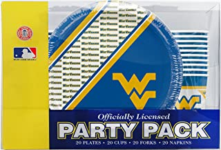 NCAA West Virginia Mountaineers Disposable Party Pack (Plates, Cups, Forks, Napkins)