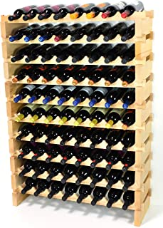 Modular Wine Rack Pine Wood 32-96 Bottle Capacity Storage 8 Bottles Across up to 12 Rows Stackable Newest Improved Model (80 Bottles - 10 Rows)