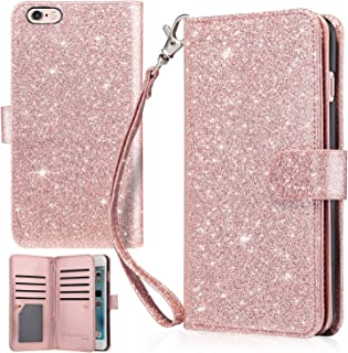UrbanDrama iPhone 6 Plus Case, iPhone 6S Plus Wallet Case, Glitter Shiny Faux Leather Magnetic Closure Credit Card Slot Cash Holder Protective Case for iPhone 6 Plus, iPhone 6S Plus 5.5 Inch Rose Gold