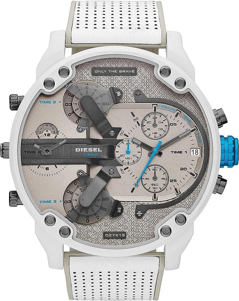 Diesel orologio cronografo da uomo con cinturino in pelle e ccassa in acciaio inossidabile DZ7419