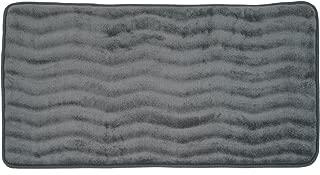 Lavish Home Microfiber Memory Foam Bathmat – Oversized Padded Nonslip Accent Rug for Bathroom, Kitchen, Laundry Room, Wave Pattern (Platinum)
