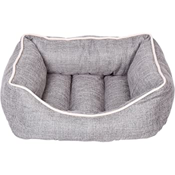 Dream Paws Complimentary Comfortable Pet/Dog/Animal Classic Design Cosy Plus Inner Cushion High Density Non-Slip Base Washable Box Bed, Small/Medium, Grey
