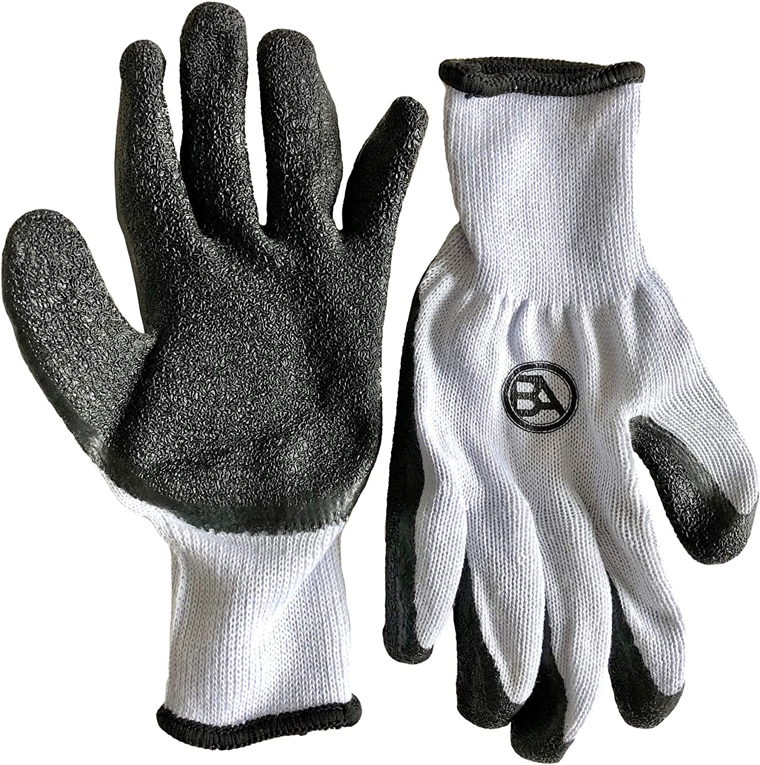 Black Anchor 2-Pairs Fishing Gloves Rubber Coated   Gray Cotton, Black Rubber, Fit Medium to Large : Sports & Outdoors