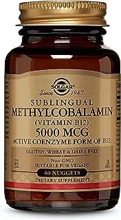 Solgar Sublingual Methylcobalamin (Vitamin B12) 5000 mcg, Active Coenzyme Form of B12, Non-GMO, 60 Nuggets